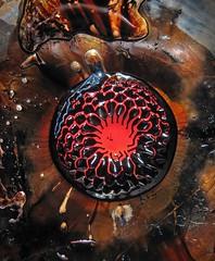 Creation Of The Moon (Sea Moon) Tags: red circle iron paint satellite fluid magnet blobs ferrofluid hexnut