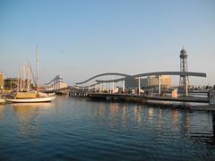 Barcelona, Ramblas del Mar (Travelling and more) Tags: barcelona old travel bridge sea reflection port boot harbor spain reisen europa mediterranean yacht stadt brcke masts schiff spanien vell abendstimmung katalonien abendlicht mittelmeer