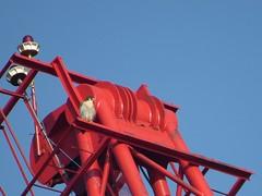 Charlie on red crane
