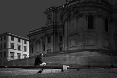 Between the pigeons (Jochen-B) Tags: rome italy bw man alone solitude monochrome sony rx1r cybershot street candid city light pigeons birds