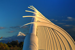 Tidal Wave of Bones (hapulcu) Tags: newzealand northisland oceania pacific taranaki bridge sunset volcano winter