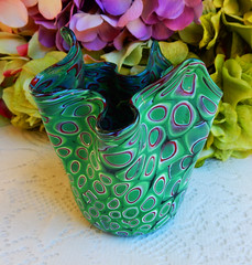 Vintage Murano Glass Fazzoletto Vase (Donna's Collectables) Tags: vintage murano glass fazzoletto vase thanksgiving christmas
