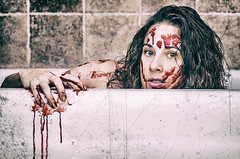 American Psycho Mess (ThroughTamsEyes) Tags: scary self portrait selfy selfie halloween 13nightsofhalloween spooky people woman girl fright scared gothic surreal blood bloody red textures bath bathroom bathtub