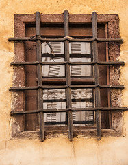 certainly not an industrially produced window - HWW! (lunaryuna) Tags: spain andalusia seville sevilla tyraditionalarchitecture window reflection windowblinds wroughtiron urbandecay beautyofdesign windowswednesday lunaryuna hww