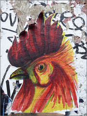 East End Street Art (Mabacam) Tags: 2016 london eastend shoreditch streetart wallart urbanart publicart graffiti urbanwall wall pasting wheatpasting pasteup rooster lm