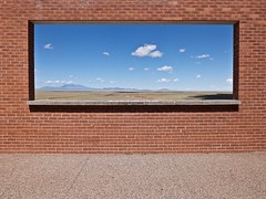Window with a view (Nicolas) Tags: rectangle cadrage framing cadre frame composition usa arizona meteorcrater window view panorama brick wall holidays america landscape fun nicolasthomas paysage vacances mur brique vue fentre amrique sky ciel cloud nuage horizon insolite geometry geomtrie lignes lines flagstaff