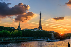 Sunset at home (Alexandre Consten) Tags: paris eiffel tower sunset city cityscape iron seine france parisian views