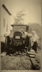 Dad and Truck Circa 1920 (Anvilcloud) Tags: dad family ford truck bw splittone heritage htt