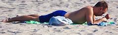 Man in Blue Swim ware on beach (LarryJay99 ) Tags: males lakeworth canonefs60mmf28macrousa seaside wagersedge ocean atlantic sandy atlanticocean male florida canon60d canonef70300mmf456isusm men man guy guys dude dudes sexy profile cellphone cuteguy handsome swimtrunks beach sunning hunk legs armpits hairy