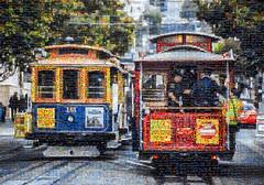 two cops on a cable car mosaic (pbo31) Tags: sanfrancisco california color nikon d810 november 2016 fall boury pbo31 bayarea mosaic cops cablecar fishermanswharf police law escort tourist taylorstreet turnaround