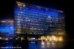 _IMG4350 (acornuser) Tags: iceland europe city lanscape cityscape architecture building glass modern light night sky water reflection pentaxk3 sigma1770 bw blackandwhite sculpture harpa lighttrail viking reykjavik