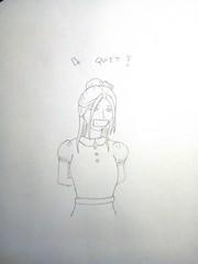 Be quiet girl! (♥ Elisa Rosa ♥) Tags: fantasie fantasy bondage girl girly gagged tiedup gag gagging drawing hostage bequiet taped up dress collar hair fashion