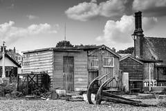 Fish Hut (jo_jorandall) Tags: sea blackandwhite bw beach monochrome hut