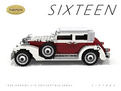 Marmon 1933  S I X T E E N Convertible Sedan (lego911) Tags: auto birthday usa classic car america sedan vintage 1930s model lego render convertible veteran 31 luxury challenge 8th sixteen cad lugnuts 1933 96 povray moc v16 ldd miniland marmon kickinitoldschool lego911 happycrazyeighthbirthdaylugnuts