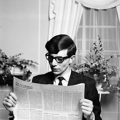 Young-Stephen-Hawking-Reading-The-Guradian (hawkingfan) Tags: glasses newspaper suit cleancut stephenhawking gaurdian 48glebeplace
