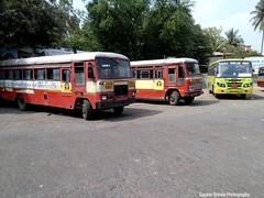 MSRTC City buses of Miraj Depot Resting at Miraj Depot (gouravshinde94) Tags: city bus buses tata ashok leyland miraj msrtc nwkrtc