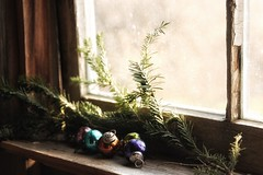 Christmas window (s@ssyl@ssy) Tags: pine branch country shed neighbours baubles hww windowwednesdays