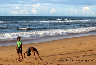 Gymnastic Practising at Puri Beach