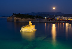 Blue moon (snowyturner) Tags: sidari corfu moonlight reflections bay adriatic cliffs resort summer