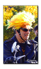 Canary Warrior (The Bop) Tags: yellow helment foliage leaves leather jacket motorcycle handlebars mirror