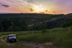 Venture off road. Eco Park Iskar Panega. (stephen_tvedt) Tags: bulgaria ecopark landscape sunset orange purple sky grass field europe eu jeep truck suv offroad 4x4 nature mountains hills green trail
