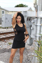 Beauty by the Tracks (California Will) Tags: edna model latina ybor city tampa fl florida blackdress beauty beautiful beaut hermosa railroad