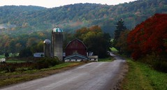 Cattaraugus County Farm (Circled Thrice) Tags: barn farm rural country serene road fallcolor trees fall autumn cattarauguscounty hinsdale olean hills enchantedmountains canon eos rebel t3i sigma landscape outdoors outside