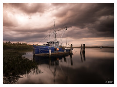 L1002617 (robert.french57) Tags: d26 barling creek bob robert french 57 leica m 240 boat sunset light lowlight water coast blue old sky