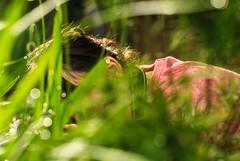 ...who's been hiding in my bokeh.. (dawn.tranter) Tags: hiding bokeh droplets garden dew morning daughter friend photographybuddy fun dawntranter