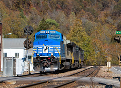 Blue Faced on the N&W (Wheelnrail) Tags: nw ns norfolk norfolksouthern southern sign signals west virginia railroad rails train trains helper pocahontas district ac44c6m fall autumn mountain state locomotive ge northfork