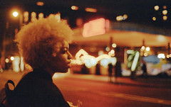 Late Night Hype. (Leon.Antonio.James) Tags: 35mm 35mmfilm 50mm analog analogue beliveinfilm buyfilmnotmegapixels bokeh color cinematic dustgrainandscratch film filmisalive filmisnotdead grain ishootfilm ilovefilm ifyouleave kodak leonantoniojames longlivefilm london light neon nikon tones pastel shootfilmstaypoor shadow street t