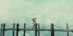 feel ten feet off the ground... (Morrigan Outlander) Tags: secondlife sl avatar virtual virtualworld blond sea ocean spray water blue dock pretty sexy gorgeous song music emotions feelings love romantic scenic view nature zenith tableauvivant maitreya essenz glamaffair catwa greenstory ipiccy cvposes