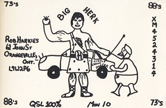 Big Herk & Little Green Duster - Orangeville, Ontario (73sand88s by Cardboard America) Tags: qsl qslcard cb cbradio vintage ontario strong duck diaper car
