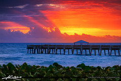 Juno Bach Pier at Sunrise Breaking Through Storm (Captain Kimo) Tags: captainkimo easyhdr florida hdrphotography junobeach junobeachpier pier southflorida sunrise
