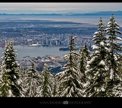 Wintery scene in Vancouver, Canada (Ann Badjura Photography) Tags: grousemountain grouse vancouver britishcolumbia canada northvancouver northshoremountains downtownvancouver snow winter trees canadaplace miss604 vancitybuzz 604now photonewsgallery insidevancouver 24hrvancouver landscape scenery photography annbadjura pnw pacificnorthwest colourfulvancouver