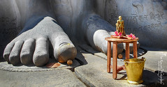 Feet of World's Largest Monolithic Stone Statue (Ganesh @bantakal.com) Tags: shravanabelagola karnataka india asia  nikon coolpix l30 point shoot hassan district 158 km from bangalore hdr coconut gummateshwara meditation meditating standing tall hill flower