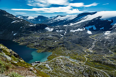 View of Djupvasshytta and Djupvatnet Lake from the Nibbevegen Road (North Face) Tags: norway norwegen norge lake mountain mountains water clouds panorama scenery nature landscape summer snow canon eos mark iii 5d3 24105l rocks cliffs 5d berge see schnee landschaft natur