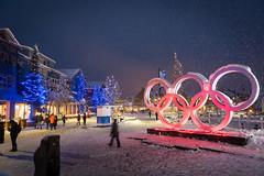 Snowy Olympic Plaza (GoWhistler) Tags: 2016 mikecrane olympicplaza olympicrings snow village winter winterwonderland
