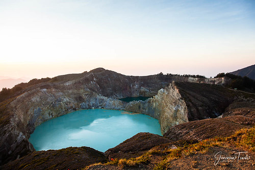 The blue and green crater lakes of the volcano in Kelimutu National Park, near Moni, Flores, Indonesia (August 2015)