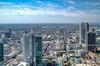 Ausblick vom Main Tower Richtung Hauptbahnhof in Frankfurt (Mr. Kurzschluss) Tags: city skyline skyscraper deutschland hessen frankfurt main stadt mainhatten metropole rheinhessen hochhäuser rheinmaingebiet