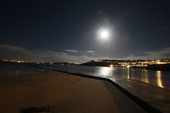 St Ives at night (JW.Andrews) Tags: uk longexposure moon seascape stars landscape seaside cornwall harbour astro astrophotography stives stivesharbour