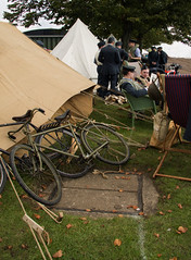 Scramble bicycles waiting (Beth Hartle Photographs2013) Tags: duxford reenactment raf scramble dispersal homeguard wraf middlewallop 609sqndispersal 1940battleofbritainairshow airtrafficcontrolcaravan wrafdriver 1937vauxhallcar