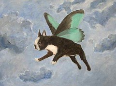 Dog Fairy (White Moon Studio) Tags: wing    acrylicpainting flyingdog  dogpainting  whimsicalart  petart  dogfairy