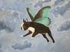 Dog Fairy (White Moon Studio) Tags: wing 雲 空 犬 acrylicpainting flyingdog 絵 dogpainting 妖精 whimsicalart 羽 petart ボストンテリア dogfairy