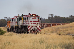 Rounding the curve (PJ Reading) Tags: west train countryside track diesel country grain rail railway dry australia cargo silo maintenance nsw western newsouthwales locomotive network transfer plains freight lease ballast alco johnholland jhr 48s 48class greentrains