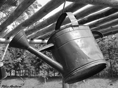 Regador / Watering can (Fbio & Carol - Ita - SP - Brasil) Tags: blackandwhite bw field rural countryside farm campo stio pretoebranco wateringcan caipira fazenda watercan wateringpot monocromtico regador