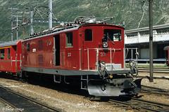 Furka Oberalp  HGe 4/4 33 in Andermatt, 26.06.1986 (Tramfan2011) Tags: schweiz swiss berge fo mgb oberalp furka zahnradbahn furkaoberalp