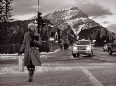 Banff Christmas Spirit (Sherlock77 (James)) Tags: people woman streetportrait alberta banff santahat