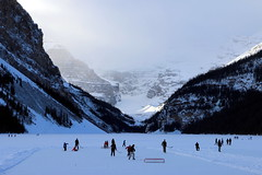 The Hockey Game, Lake Louise December 2014 (jmichael100) Tags: canada hockey alberta lakelouise hockeygame canadiana banffnationalpark chateaulakelouise victoriaglacier outdoorhockey