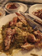 Green Chile Macaroni and Cheese with Deep Fried Boness Chicken (Patti Sullivan Schmidt) Tags: newmexico santafe restaurant unitedstates delicious greenchiles cowgirlbbq newmexicancuisine macaroniandcheesewithgreenchiles deepfriedbonelesschickenbreast